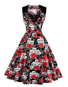 Retro Pin Up Skull Dress