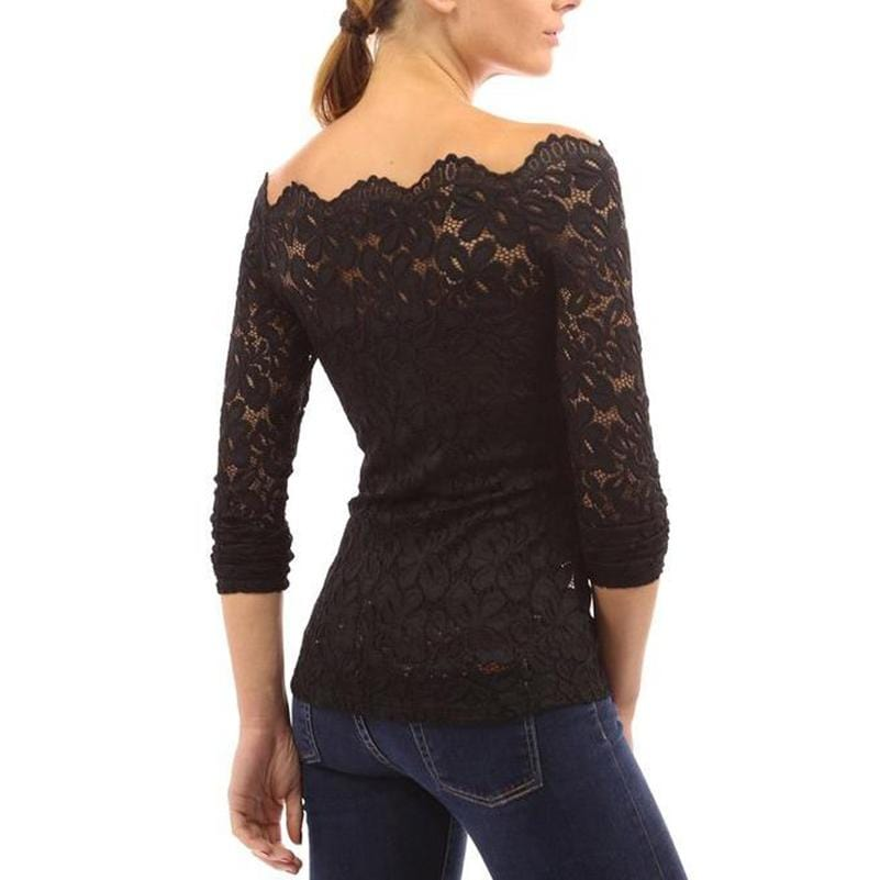 Long Sleeve Lace Floral Blouse
