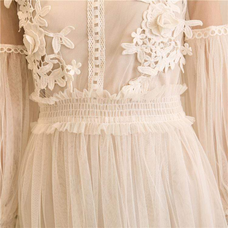 Lace Lantern Flower Dress (beige)