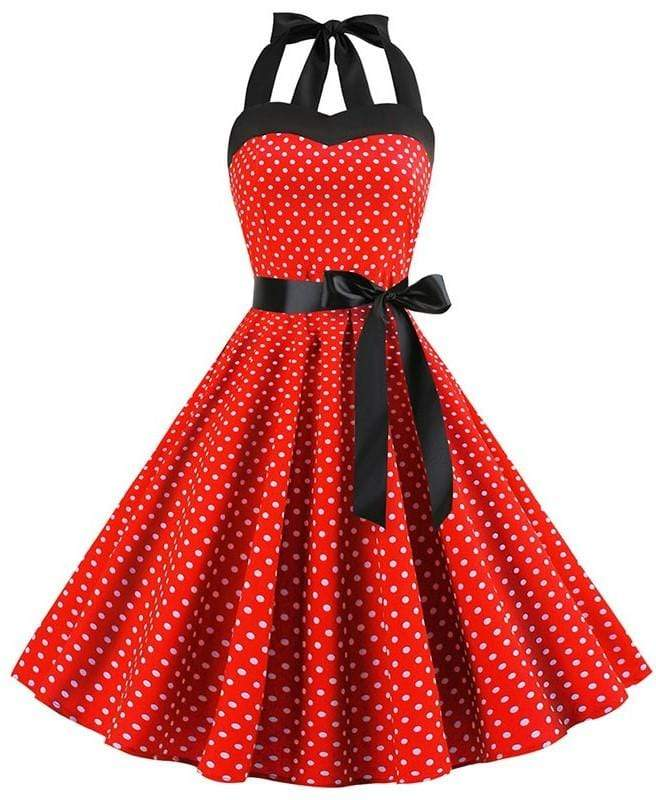 Retro Halter Flare Dress (red blk)