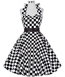 Retro Halter Flare Dress (checker)