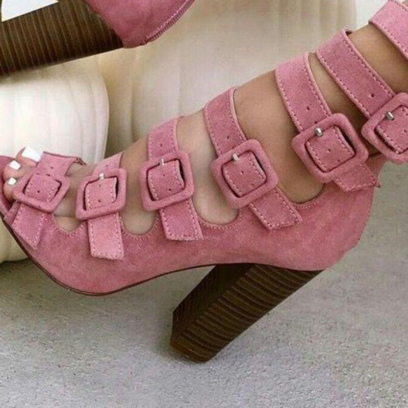 Hollow Cross Buckle Thick Heels