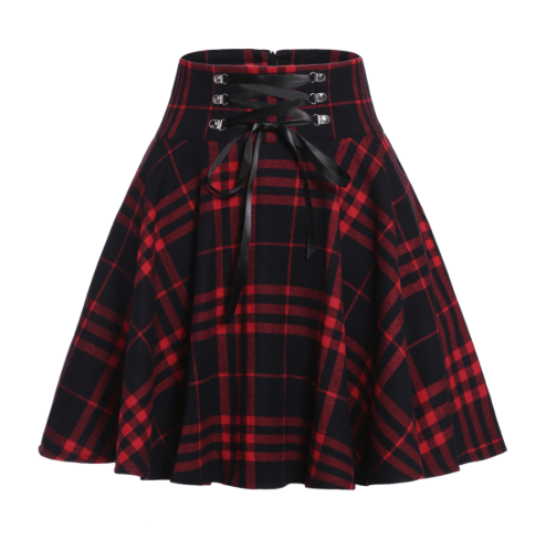 Black Red Pleated Skirt
