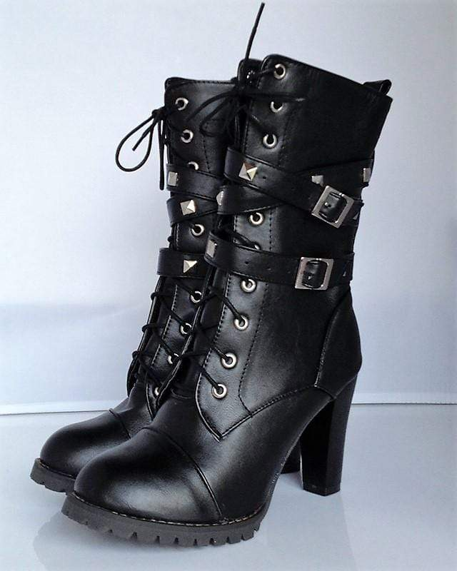 High Heel Buckle Rivet Boots