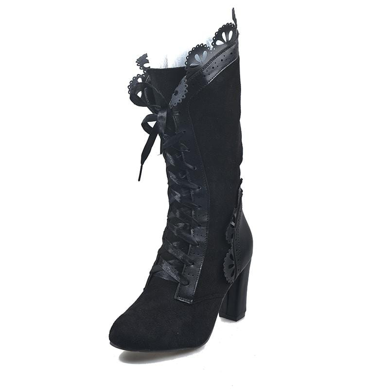 Floral Lace Up High Heel Boots