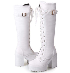 Tall and Thick High Heel Women Boots (white)