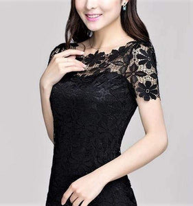 Floral Lace Short Sleeve Blouse