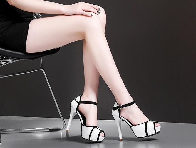 Hollow Buckle High Heels