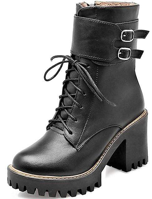 Ladies Double Buckle High Heel Boots