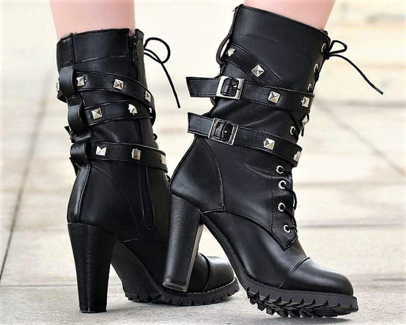 7d5970b9016 High Heel Buckle Rivet Boots – Deadly Girl