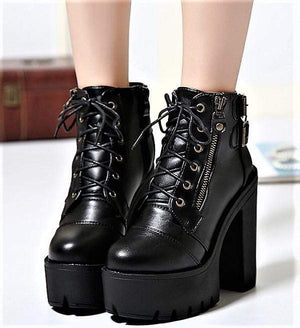 Black Platform Lace Up High Heels