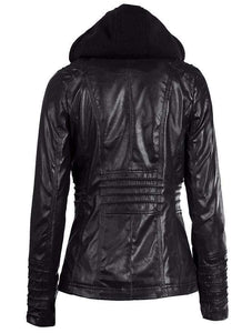 Ladys Rosetic Leather Coat
