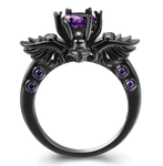 New Black Skull Amethyst Ring