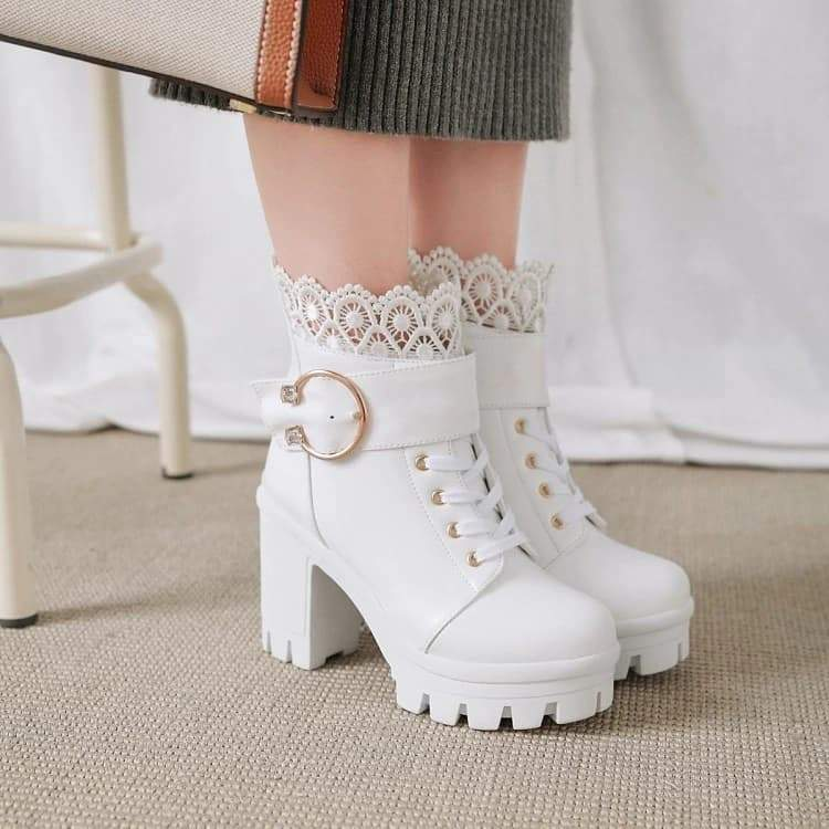Gold Buckle High Heels White