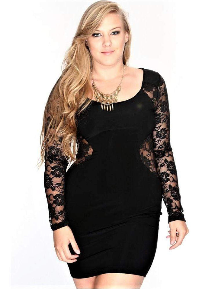 Slim Shift Lace Long Sleeve Dress
