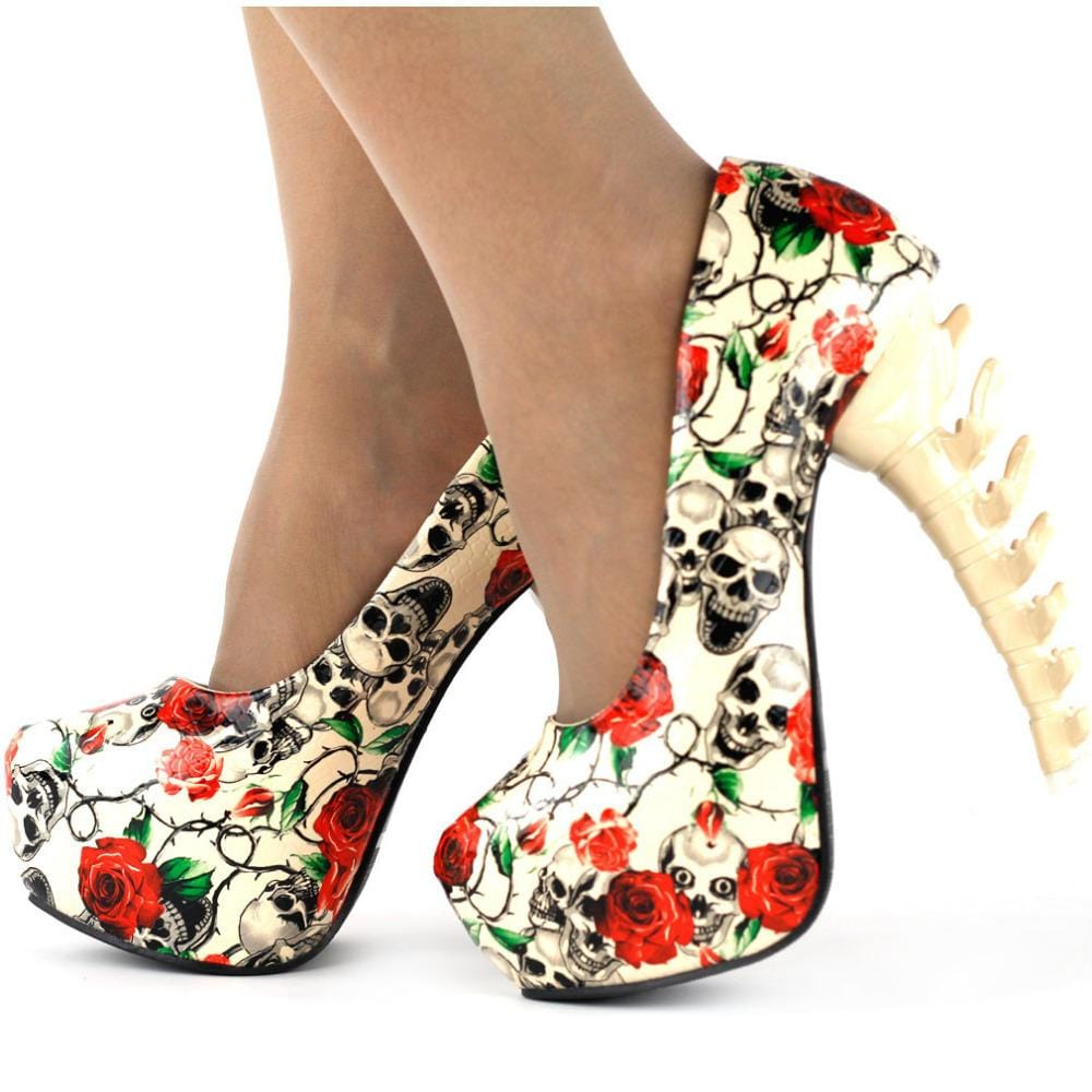 Digital Print Platform Bone Heels