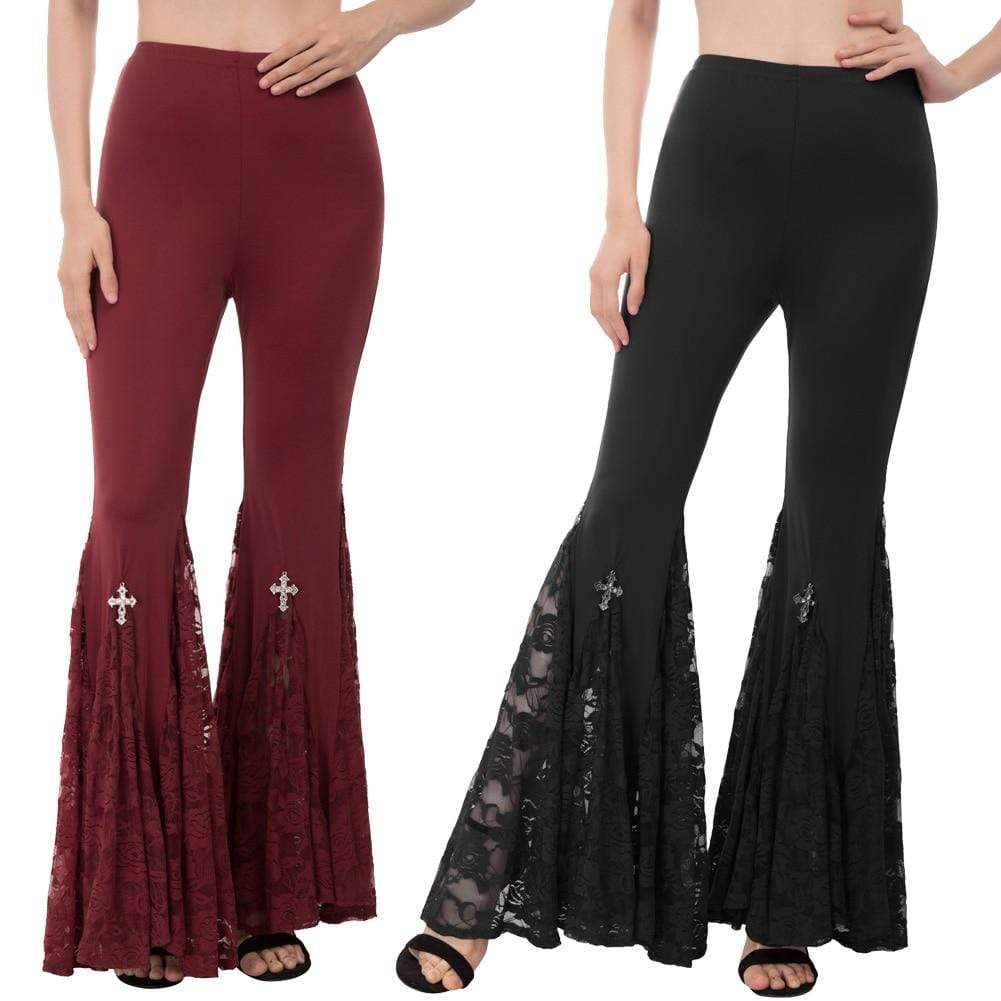Lace Patchwork Flared Bottom Pants