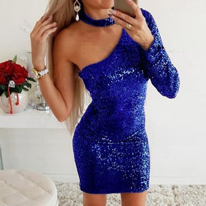 Hollow Out V-neck Slit Glitter Party Dress