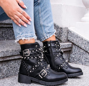 Studded Black Combat Boots