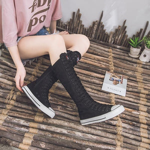 Canvas Punk Style High Boots