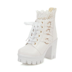 Stylish Lace High Heels (White)