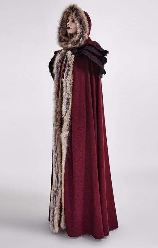 Red Winter Wool Long Cloak