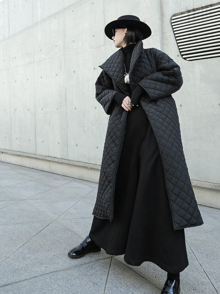 Dark Style Cotton-Padded Trench