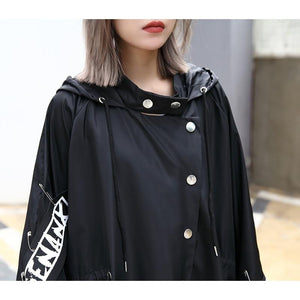 XITAO Spliced Plus Size Black Trench
