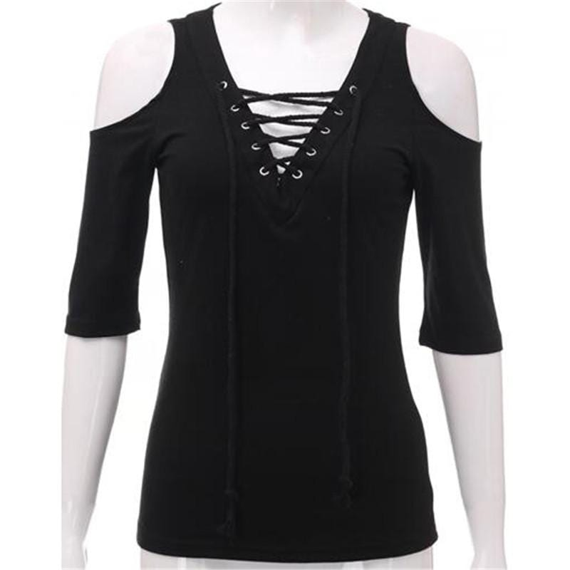 Dark Girl Lace Up Blouse