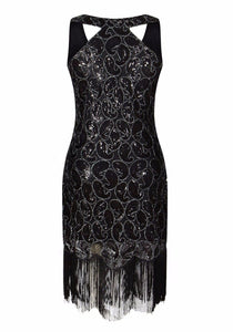 Sequin Paisley Pattern Fringe Dress