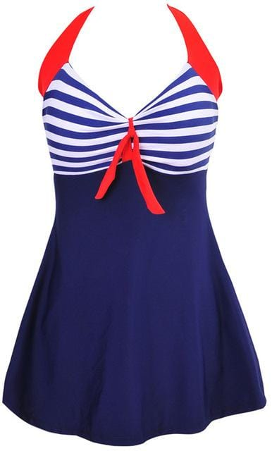 Halter Skirt Swimsuit (blue stripe)