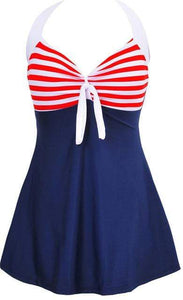 Halter Skirt Swimsuit (red stripe)