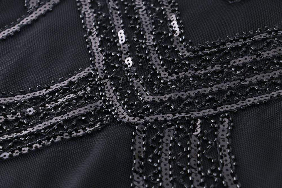 Black Vintage 1920s Beaded Dress
