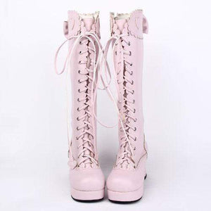 Pink Cosplay Bowtie Boots