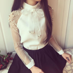 Elegant Bow of Pearl White blouse