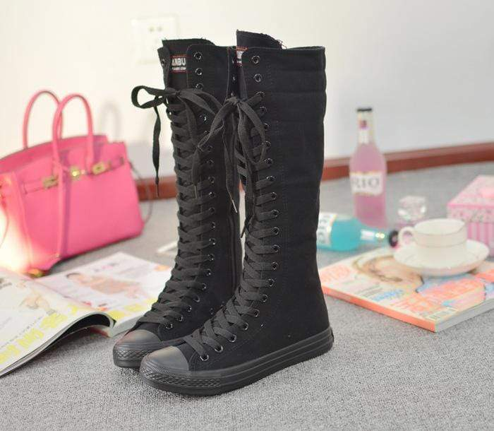 Black Out Canvas Boots