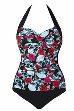 One Piece Red Skull Swimsuit