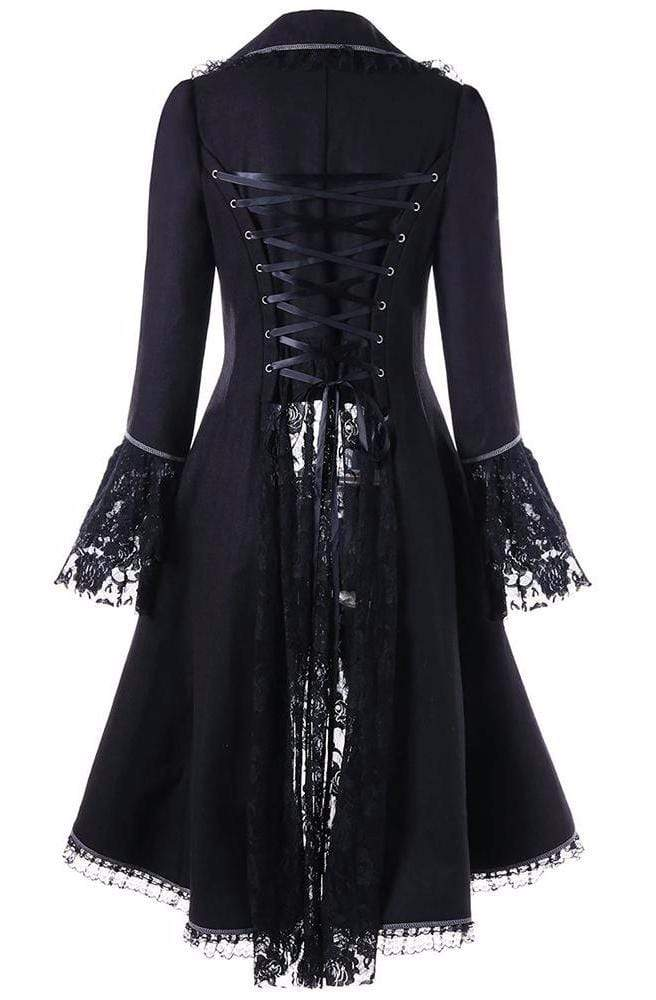 Dark Lace Panel Lace-Up Coat Winter