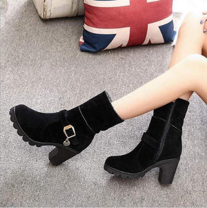 Elegant High Quality Solid Buckle Boots