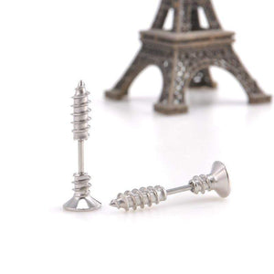 Punk Style Stainless Steel Screw Stud Earrings