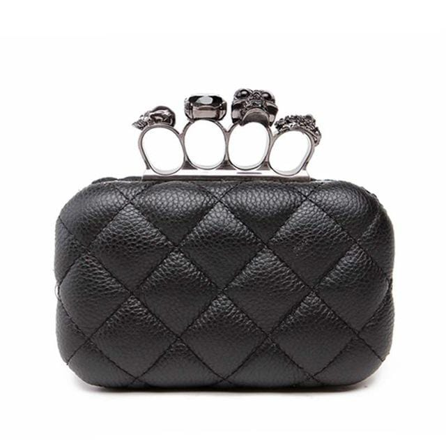 Elegant Plaid Iron Knuckle Purse