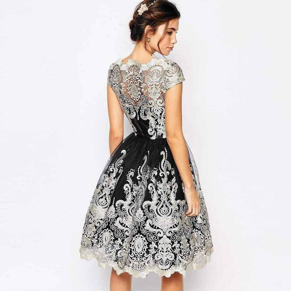 Retro Floral Lace Swing Dress