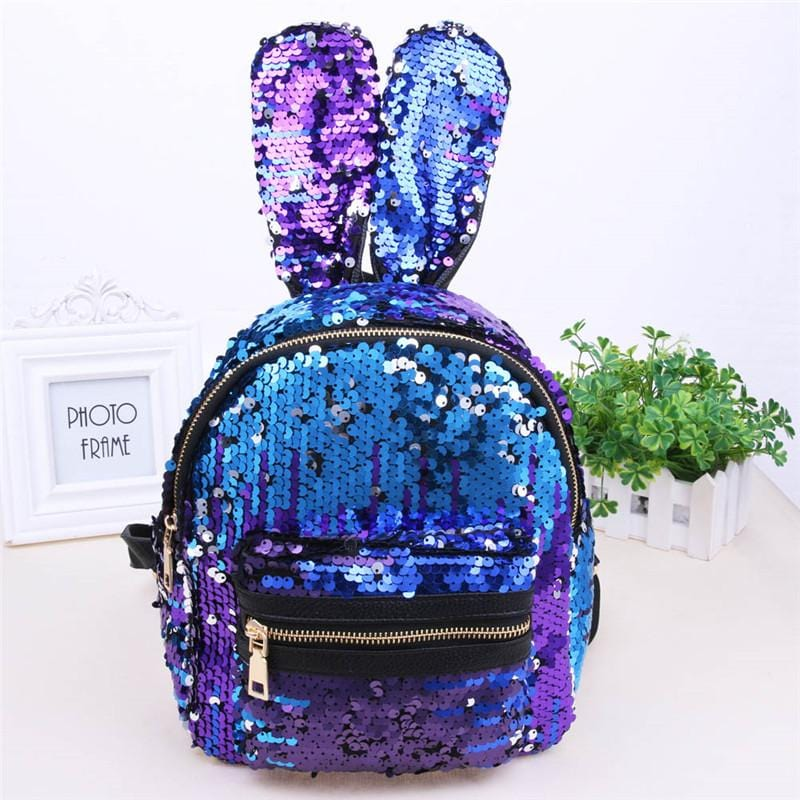 Rabbit Ear Sequins Backpack (blue)