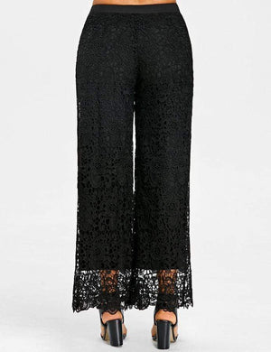 Lace Elastic Waist Wide Leg Pants
