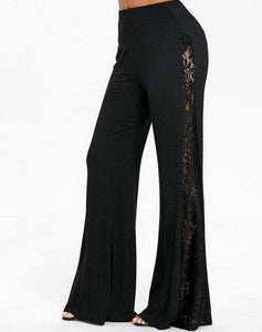 High Waist Lace Panel Wide Leg Pants
