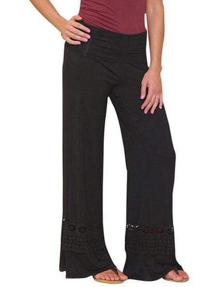 Solid Lace Waist Wide Leg Pants