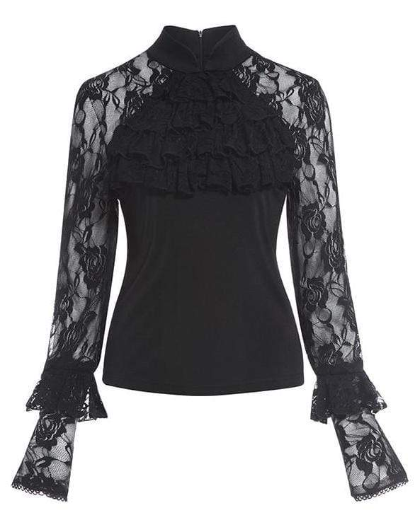 See Through Ruffle Lace Blouse