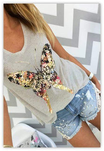 Sequined Butterfly Top