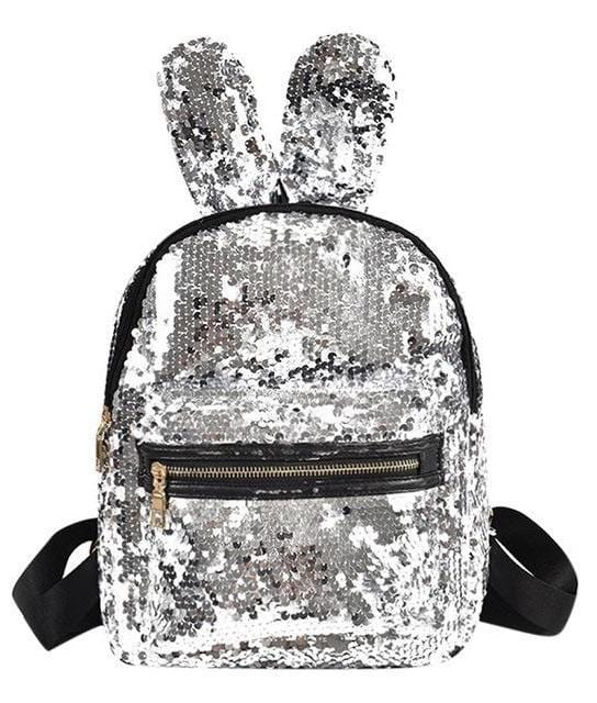 Rabbit Ear Sequins Backpack (silver)