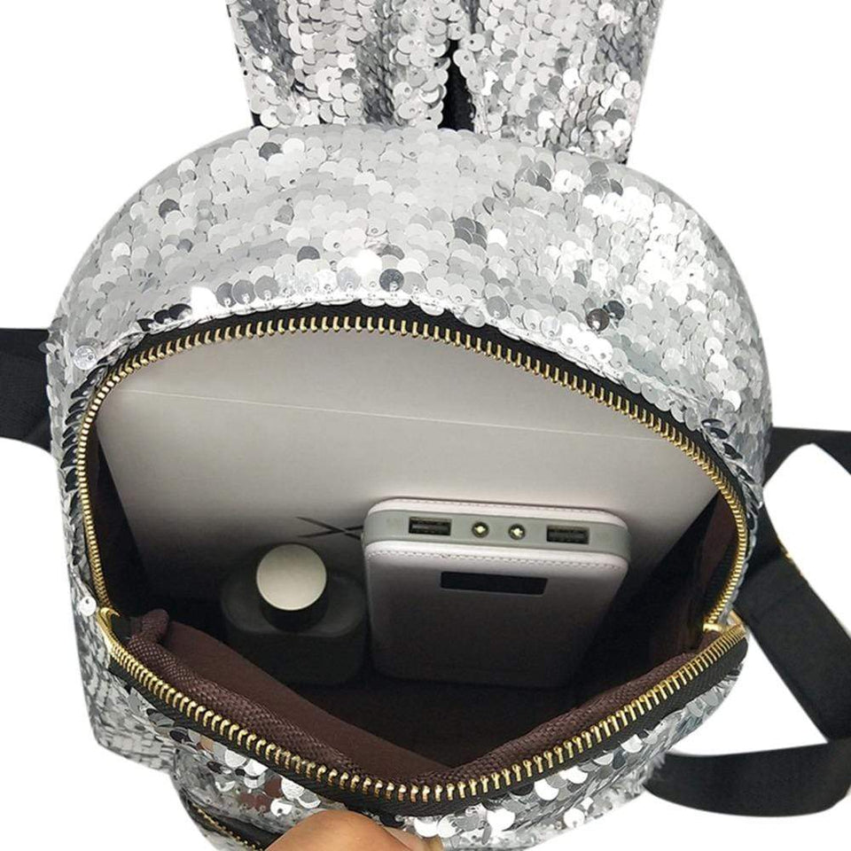 Rabbit Ear Sequins Backpack (black)